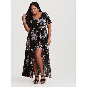 TORRID Black Floral Challis Overskirt Romper Dress